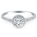 14K Fine White Gold Diamond Halo Collar Engagement Ring