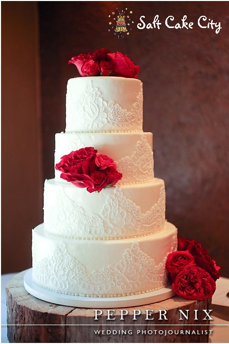 Wedding Cakes With White Lace And Quilting